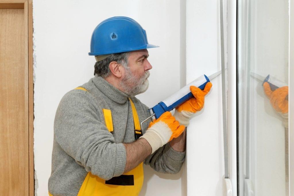 Caulking to insulate sliding doors for winter