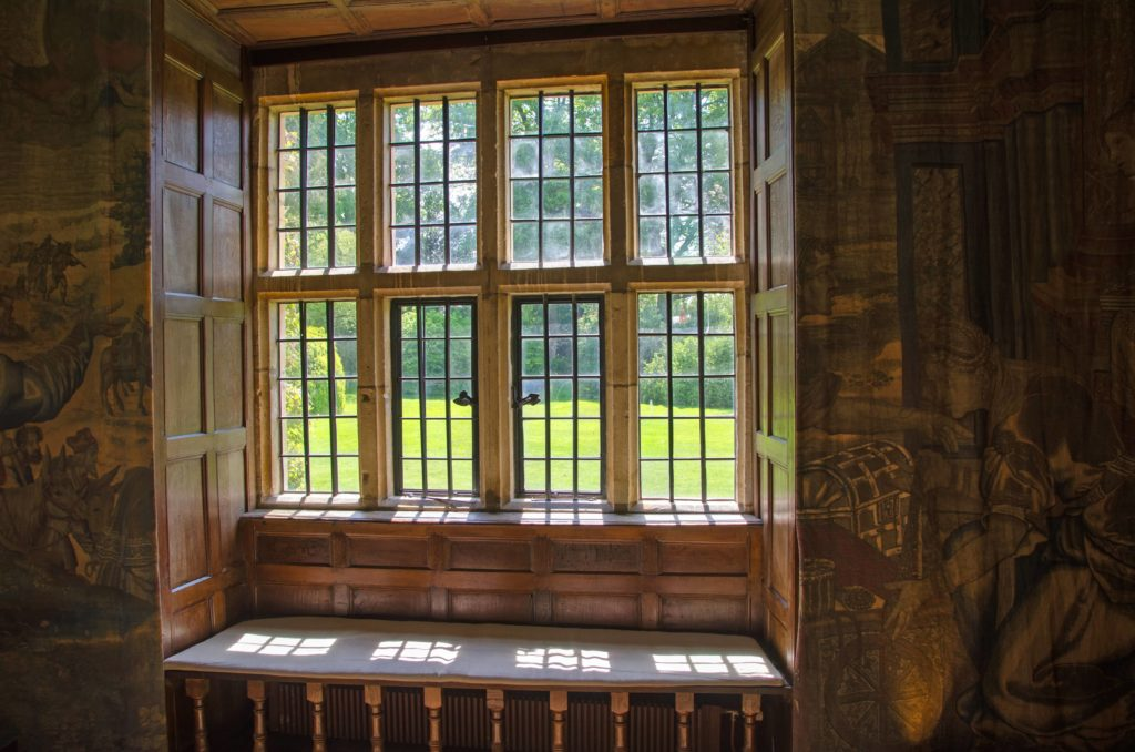 Old architecture window mullion.