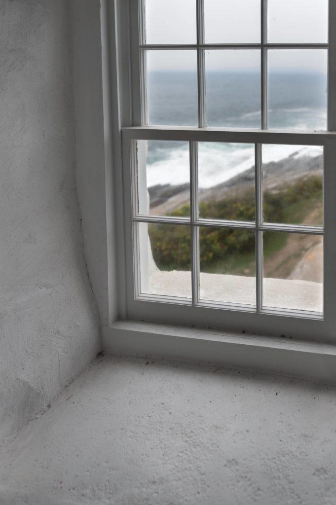 Window sash on a window.