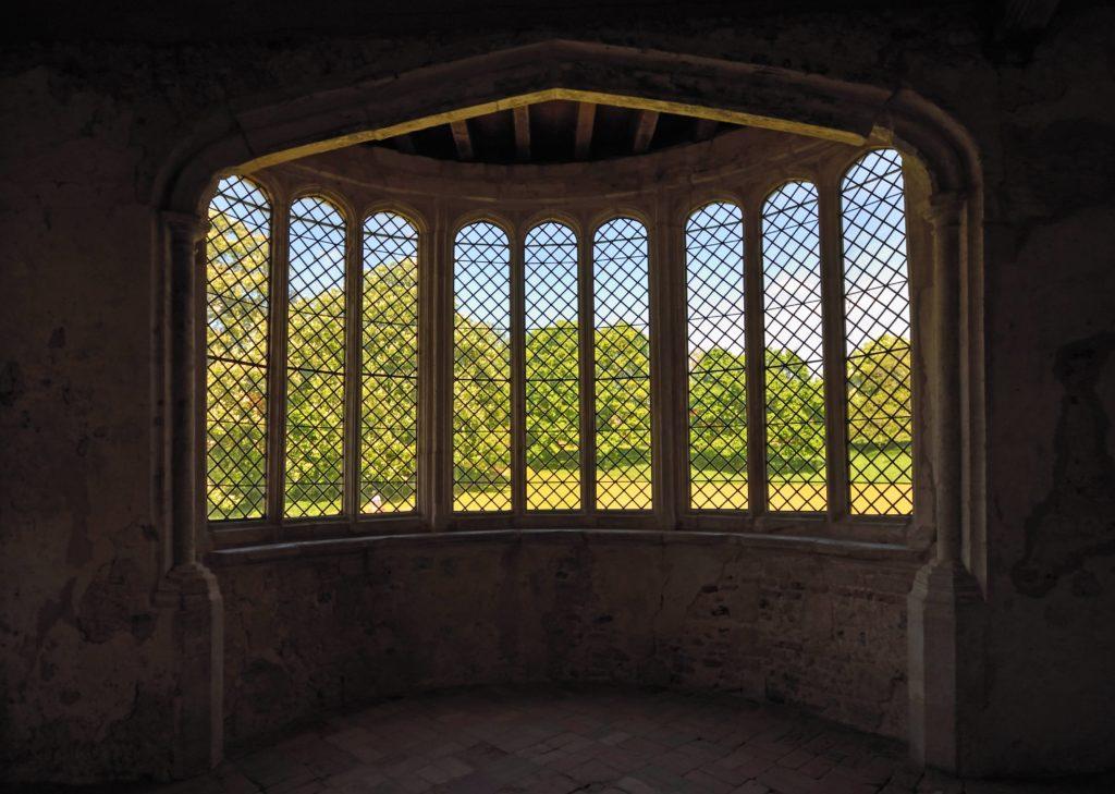 Bay window with a mullion.