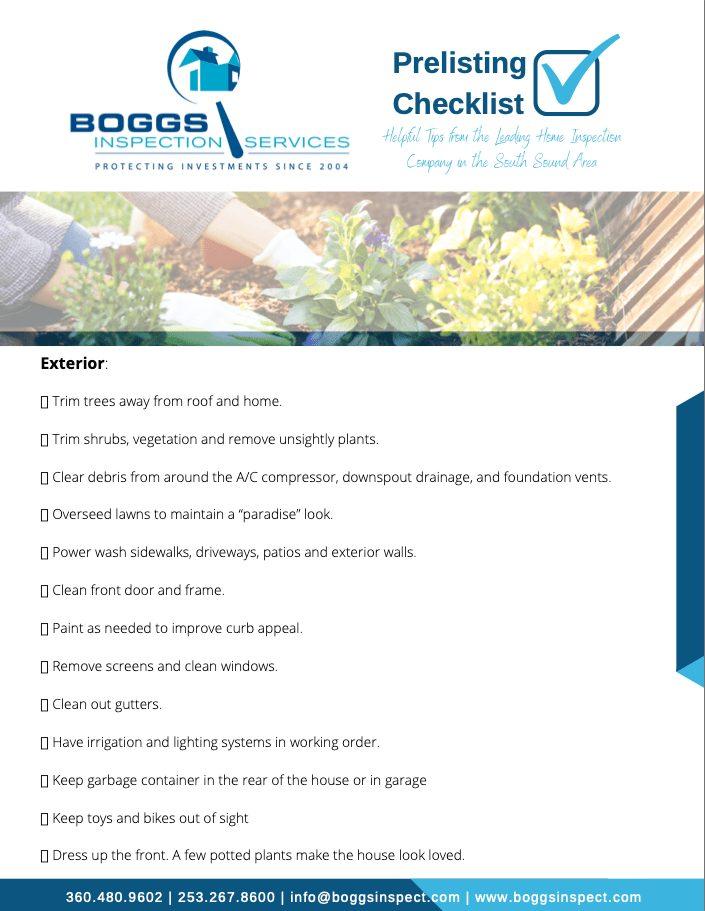 prelisting inspection checklist